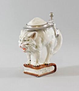 9941772# Ens/(E).Fagiolo Figurine Porcellana Boccale birra Gatto bianca piccolo