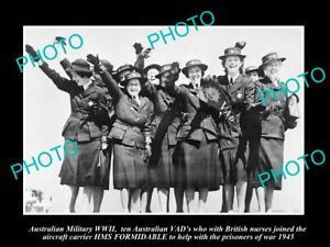 OLD-POSTCARD-SIZE-PHOTO-AUSTRALIAN-MILITARY-WWII-VAD-NURSES-HMS-FORMIDABLE-1945
