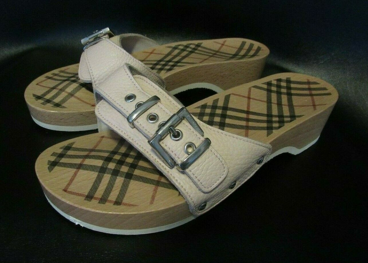 BURBERRY PINK LEATHER SILVER BUCKLE WOOD FLIP FLOP SLIDE SANDAL 38 7.5 8 ITALY