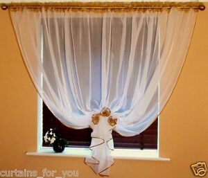 Ready Made Voile Net Curtains 11 Colours Available 3 Flowers Tie Back Ebay