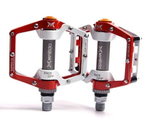 MPEDA Mountain Road XC Bike bearing Pedals flat Bicycle Pedal Red white 1 Pair