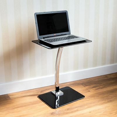 Laptop Stand Table Glass Black Computer Notebook Desk Portable By Home Discount