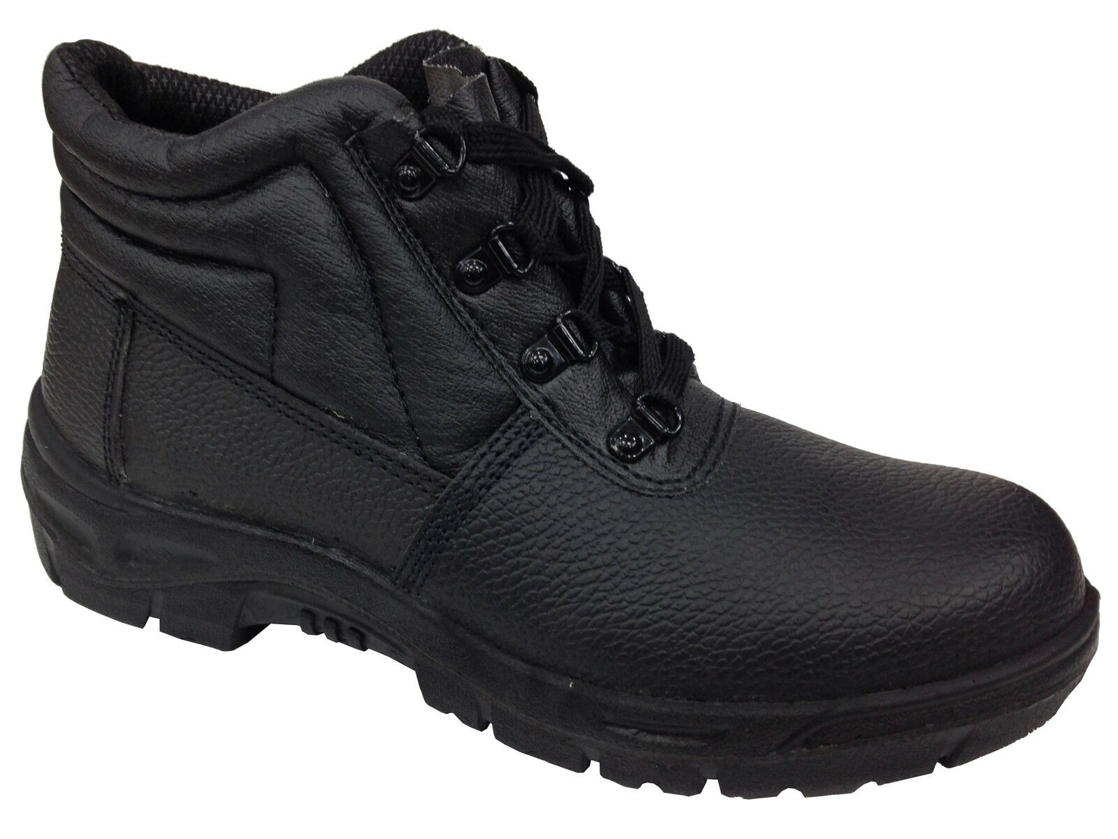 Unisex Black Genuine Leather Metal Toe Cap Safety Padded Warehouse Work Boots