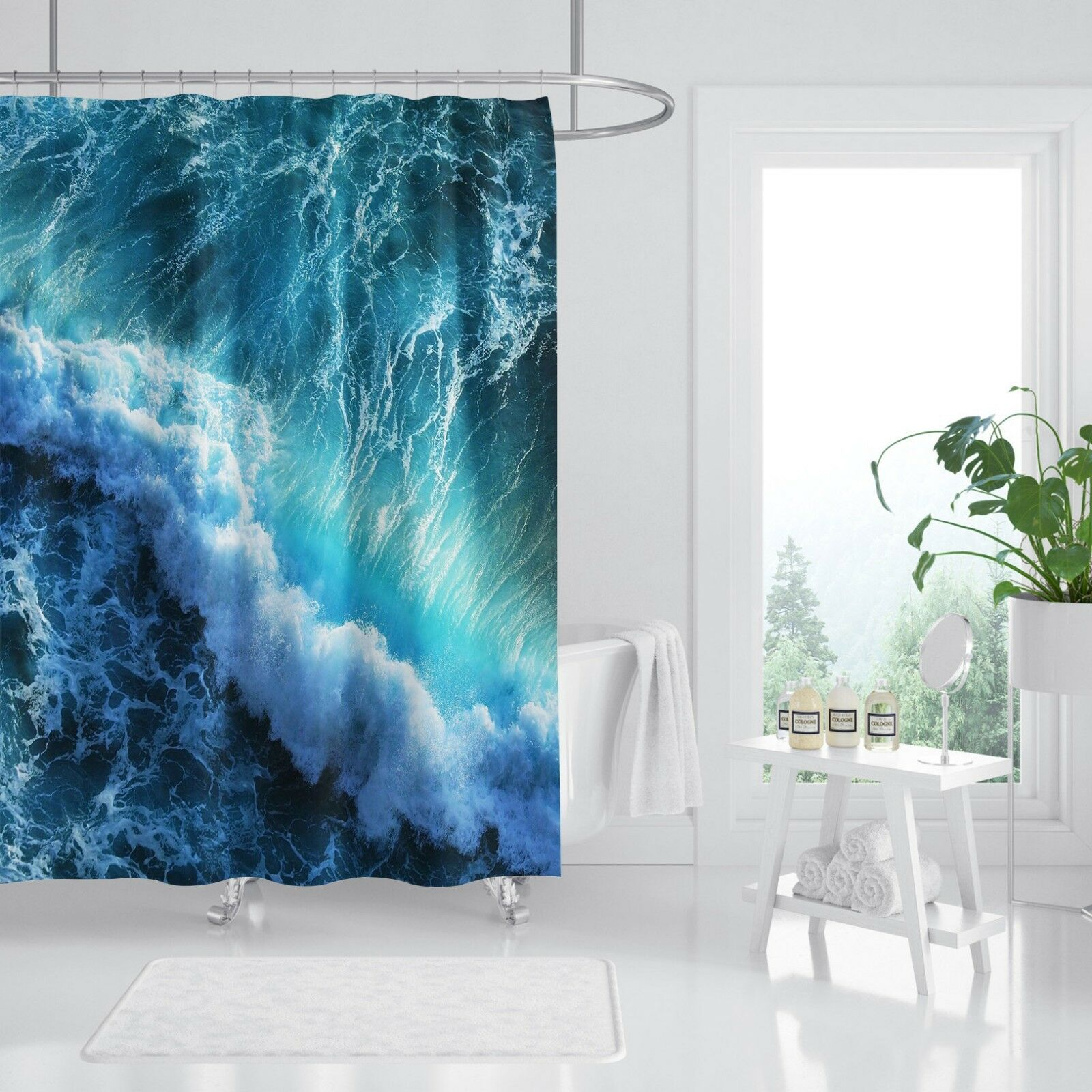 3D surf mer plage 78 Rideau de Douche Imperméable Fibre Salle De Bain Windows Toilette