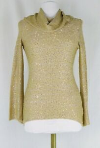 NWT-Cremieux-Gold-Sequin-Cowl-Neck-Bell-Sleeve-Tunic-Light-Sweater-Size-XS-79