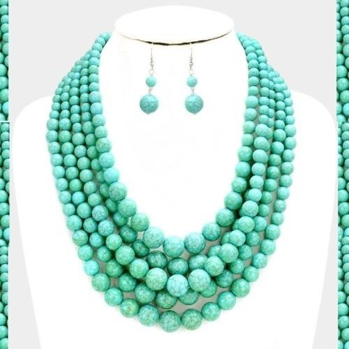5 Row Layered Pearl Statement Necklace Beaded Multi Strand Chain Chunky Earrings
