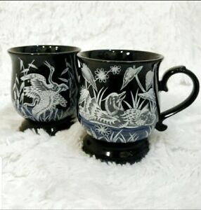 Set-of-2-Vintage-Otagiri-Japanese-Pheasant-Duck-Wild-Hunter-Coffee-Mugs