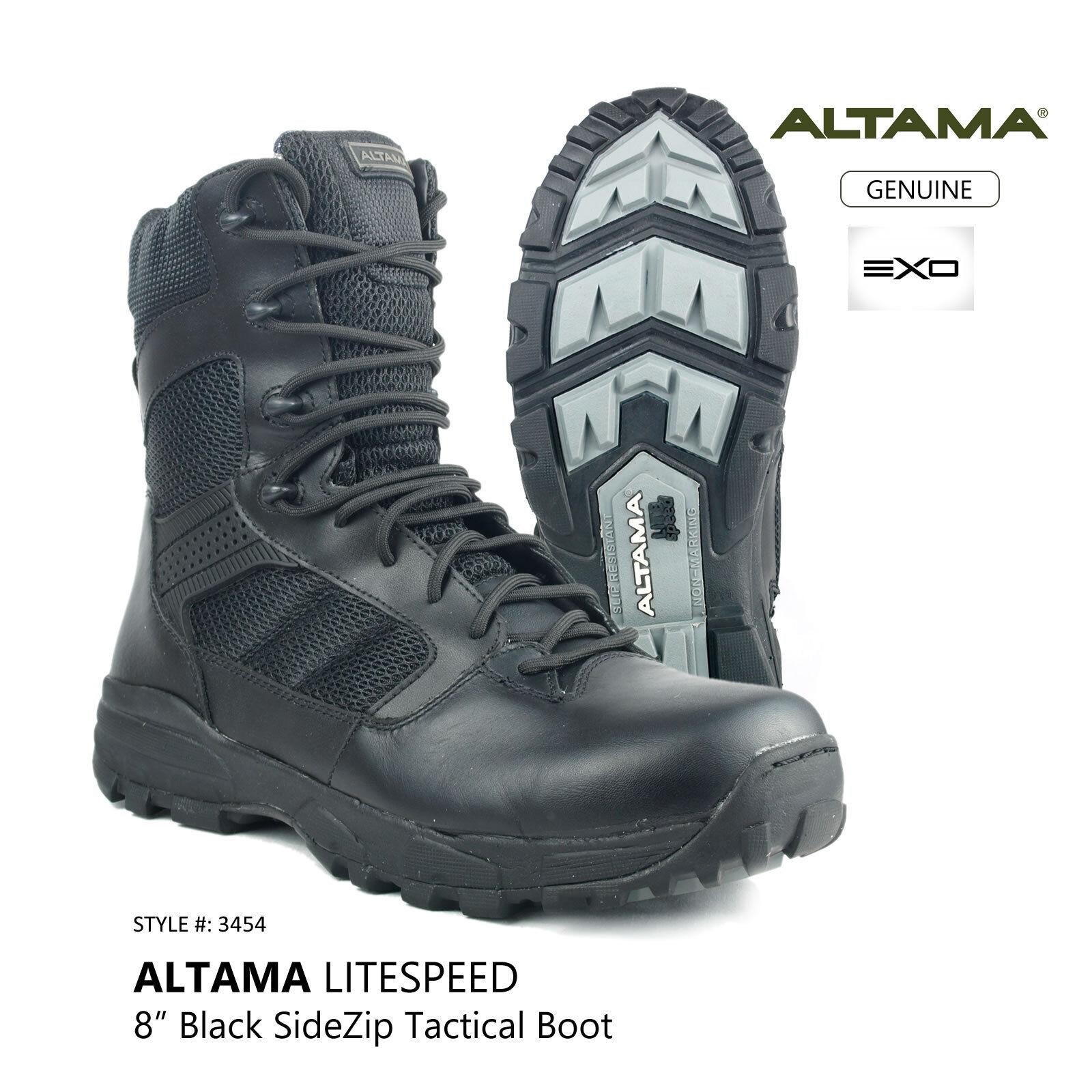 ALTAMA 8 inch LITESpeed Black Side Zip Tactical Combat Military Boot Style  3454