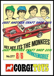 Corgi-Toys-277-The-Monkees-1968-A4-Size-Poster-Advert-Shop-Display-Sign-Leaflet