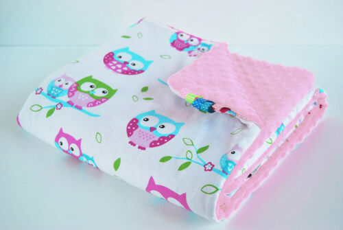 100x75 BABY BLANKET Cover MINKY dot FILLED warm cosy Cotton OWL ROSE handmade