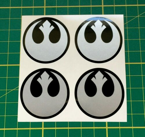 4 x 45mm Adesivi Cerchi in lega Star Wars Ribelle Logo d/'argento CENTER CAP BADGE