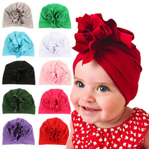 Fashion-Headwrap-Solid-Color-Beanie-Cap-Elastic-Baby-Hat-Flower