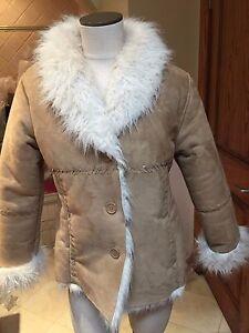 chaud L Kc beige en lanières Nice fausse Très Manteau boutonné Collections Sz fourrure avec awfBq6