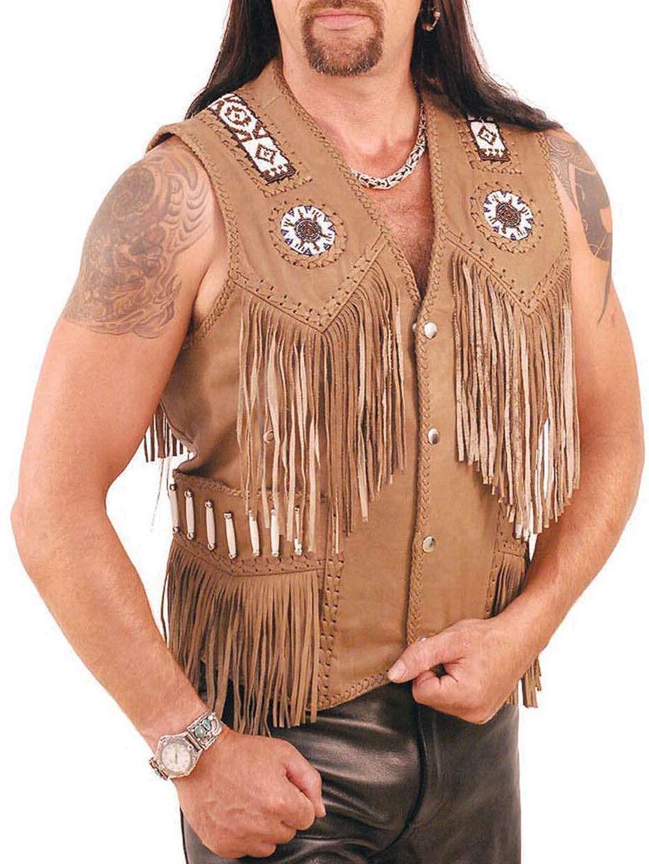 Herren Western wear Brige Cowhide Leder Vest Fringes braid around beads bones