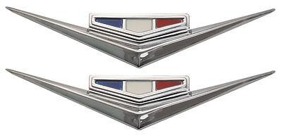 1964 64 Chevy Impala Belair Biscayne 283 Front Fender Vee Emblem Pair