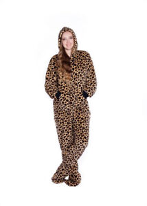 Image is loading Leopard-Plush-Hooded-Adult-Footed-Pajamas-Footie-Drop- e82c7ab48