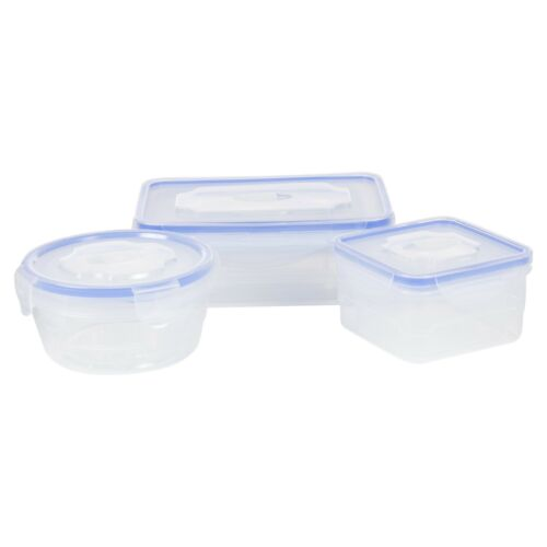 8 Pcs Clip Lock Lid BPA Free Food Storage Containers Clear Air Tight Lunch Boxes