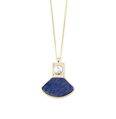 Brand Gold Plating Lapis Lazuli Sector Of A Circle Pendant Necklace