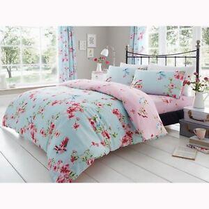 Oiseaux-Fleur-Floral-Parure-Housse-de-Couette-King-Size-Reversible-Rose-Bleu