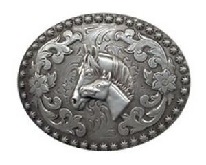 MARE-amp-FOAL-Western-Belt-Buckle-Horsehead-Colt-Silver-Cowgirl-Horse-3707860