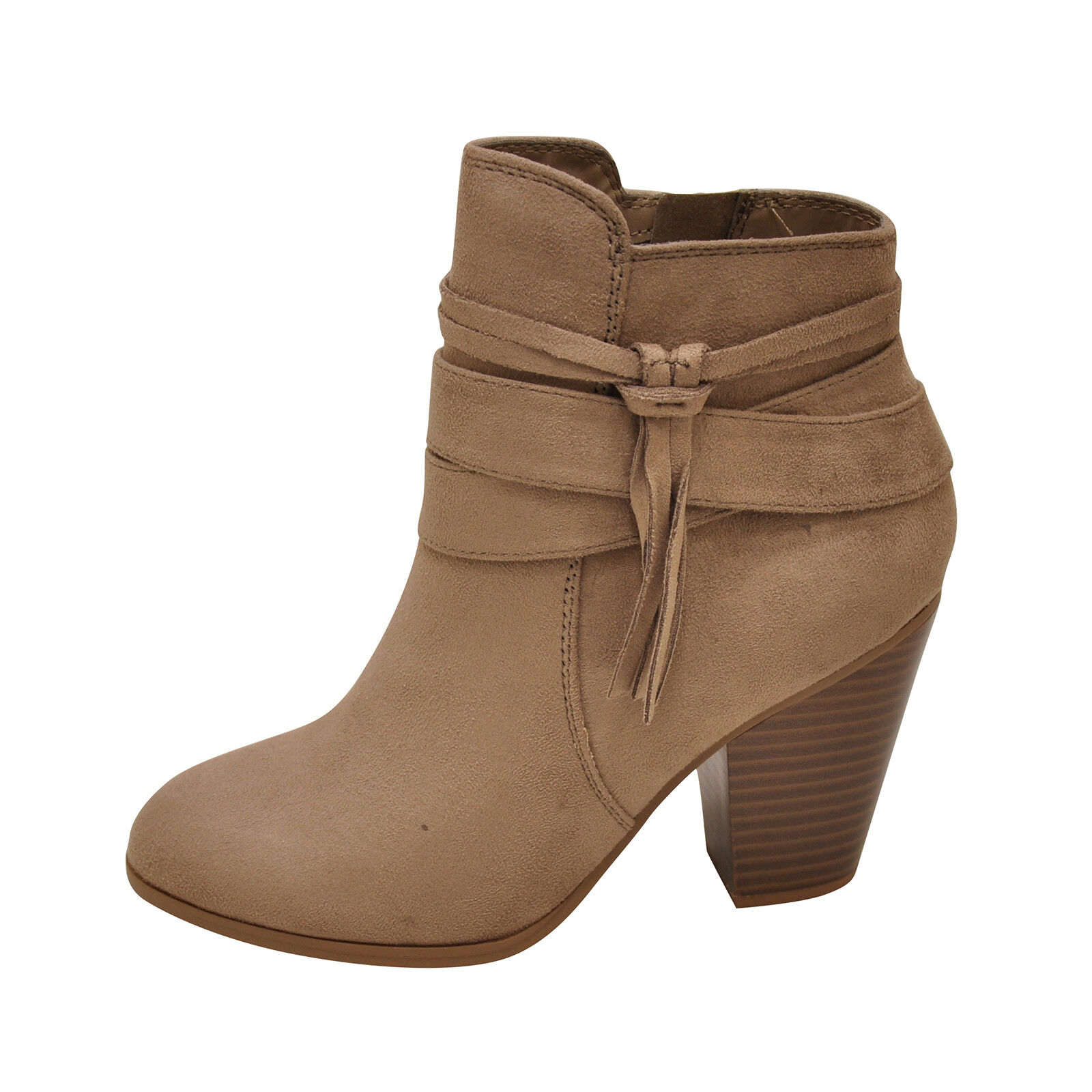 Soda ELISA-S Warm Taupe Women's Strappy Tassel Ankle Booties