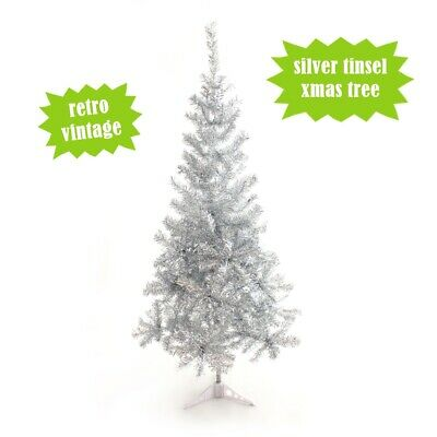 Tinsel Christmas Tree.Perfect Holiday 5ft Silver Tinsel Christmas Tree Vintage Retro Style Nostalgic Ebay