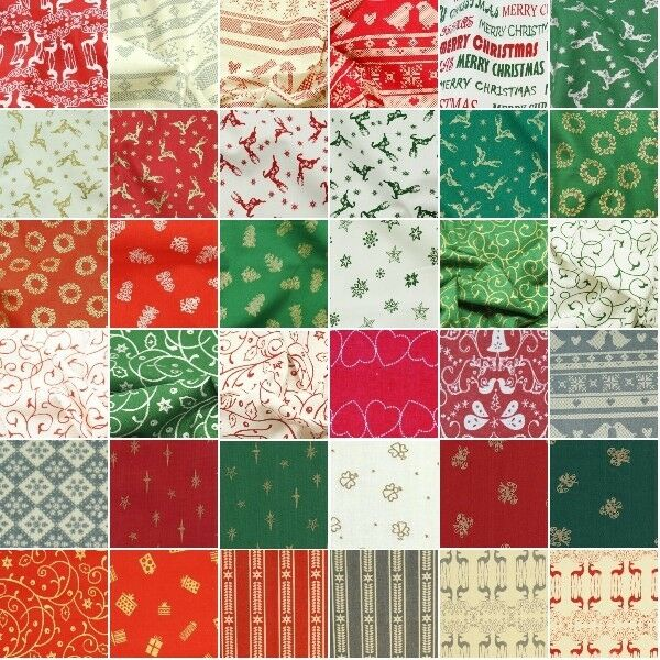 NORDIC SCANDI CHRISTMAS FABRIC FAT QUARTER BUNDLES  RED GREEN BLUE WHITE