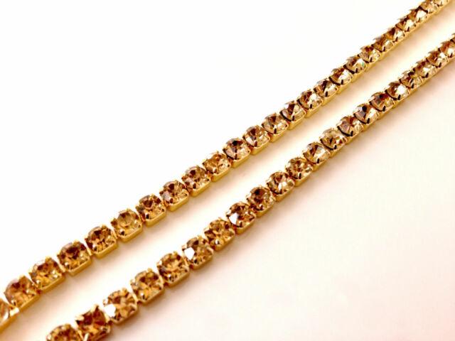 Band Gold Base ein Qualität 1M Nähen Strass Strasssteine Kristall Farbe Kette