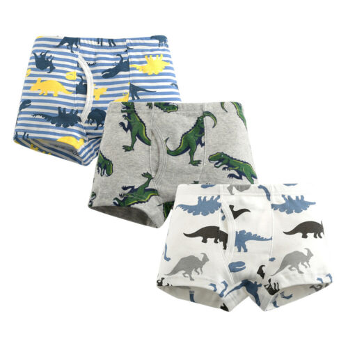 3//6 Pcs Boys Kids Childrens Boxer Shorts Underpants Trunks Pants Dinosaurs 2-10
