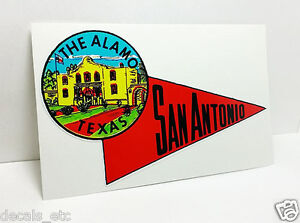 San antonio texas alamo vintage style travel decal vinyl for Vinyl lettering san antonio