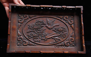 China-old-antique-huang-huali-wood-flower-bird-Banquet-food-wine-Tray