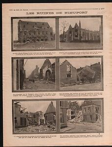 "WWI Ruines Eglise de Nieuport Nieuwpoort Belgique Poilus War 1914 ILLUSTRATION - France - Commentaires du vendeur : ""OCCASION"" - France"