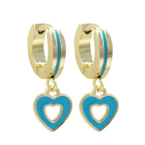 Image Is Loading Gold Finish Blue Enamel Open Heart Children 039
