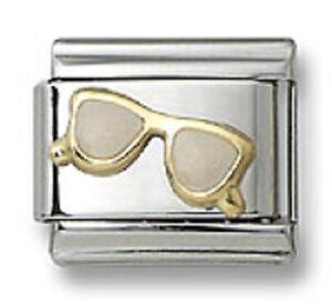Sunglasses-Italian-Charm-Enamel-Stainless-Steel-9-mm-Modular-Link-Bracelet-18K