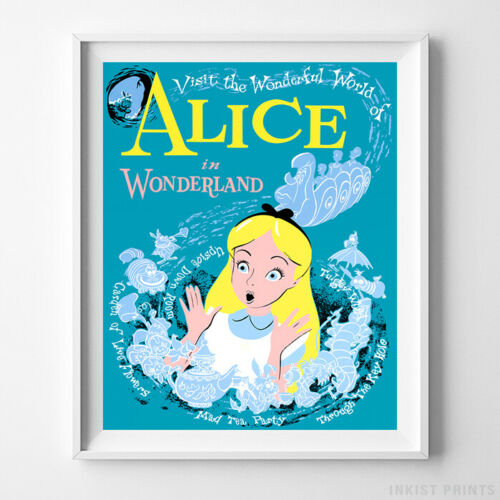 Disneyland Poster Alice in Wonderland Wall Art Disney Print Decor UNFRAMED