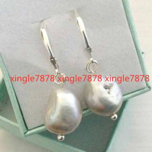New Real Silver Gray Perle Baroque Boucles d/'oreilles Leverbacks