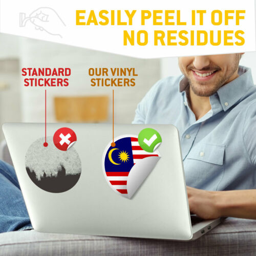 Malaysia Flag Asia Kuala Cool Gift #9146 2 x Vinyl Stickers 7.5cm