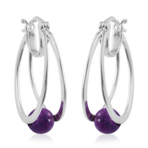 Hoops-Hoop-Earrings-925-Sterling-Silver-Purple-Turquoise-Gift-Jewelry-Ct-2-8