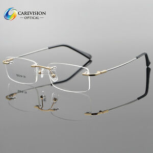 5da7483f64 Image is loading Titanium-Alloy-Rimless-Flexible-Eyeglass-Frame -Optical-Hinged-