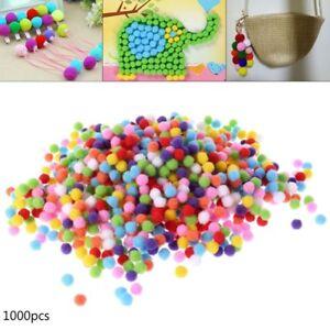 1000Pcs Soft Round Fluffy Craft PomPoms Ball Mixed Color Pom Poms DIY Craft10mm