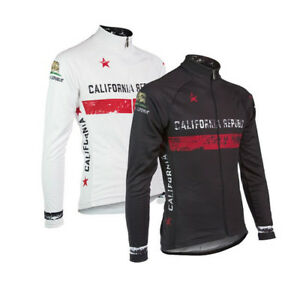CALIFORNIA-Long-Sleeve-Cycling-Jersey-Winter-Fleece-Retro-Road-Pro-Clothing-MTB