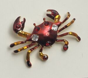 Crab  brooch in enamel on metal with crystals
