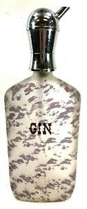 """Frosted Glass GIN Liquor Decanter w Pour Spout Barware Purple Accents 11"""""""