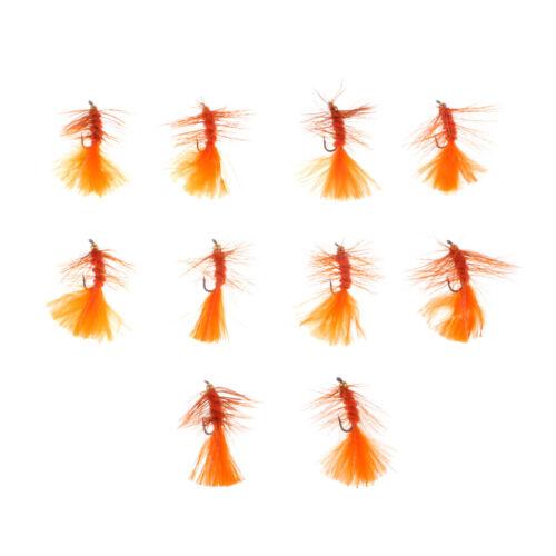Orange 10pcs Copper Bead Head Woolly Buggers Simulation Sinking Wet Flies