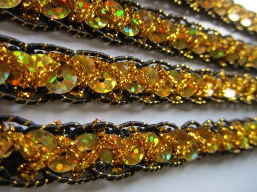 2  Meter Spitze Schwarz Gold 1.2cm breit Borte Nnichtelastisch bb 453