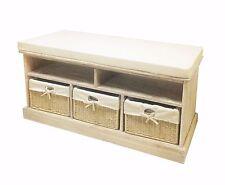 Chêne clair bench coussin siège 3 osier paniers de rangement salle de bain/couloir avec étagère