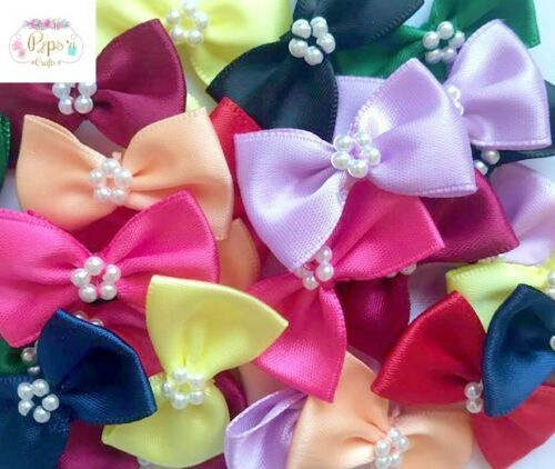 10 Quality Satin Ribbon Bow Ties Pearl Centre 3.5cm Mixed Colours Sewing Crafts