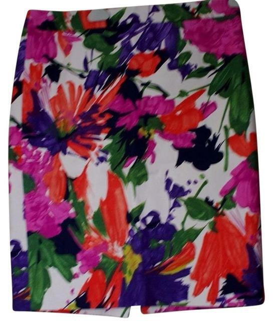 J.Crew N 2 Pencil Cotton Spandex Floral Multicolord Skirt Size  6