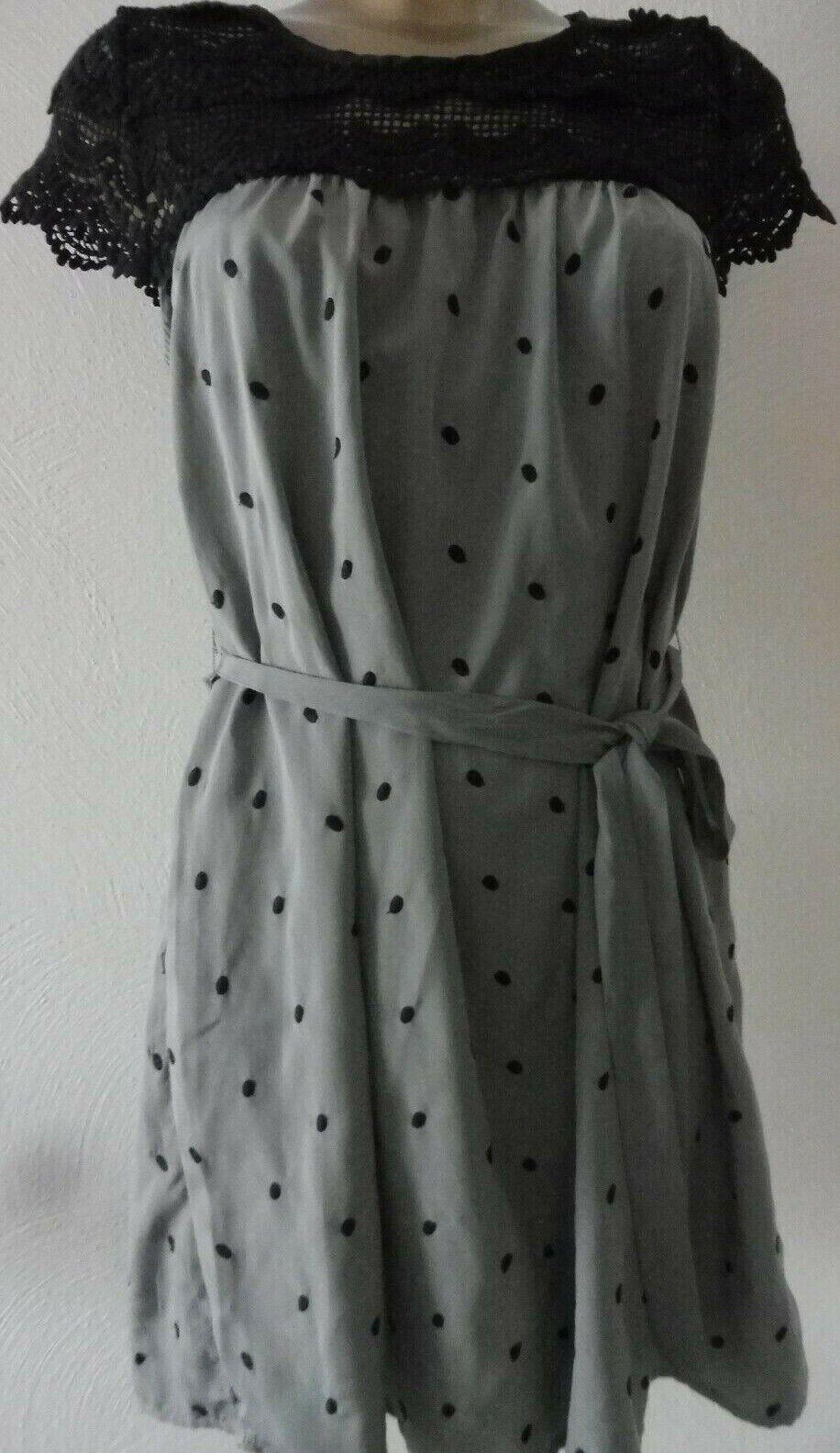Darling London Kleid Häkel-Spitze grau schwarz Vintage gepunktet Gr S 36 F831