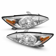 For Toyota Camry 2002 2004 Chrome Housing Clear Lens Headlights Assembly Pair